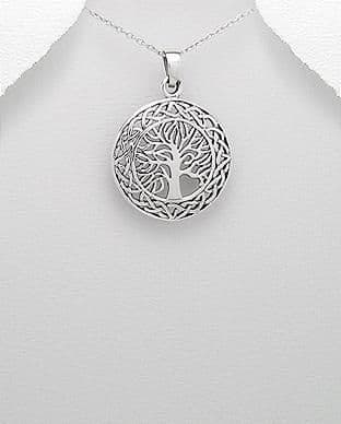 925 Sterling Silver Hand Crafted Celtic Style Tree Of Life Pendant & Chain